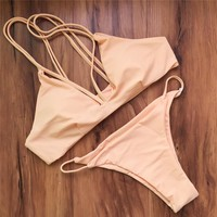 New sexy triangl swimwear bikini sweet Yellow bandage bikini brazilian swimsuit bathing suit beachwear maillot de bain