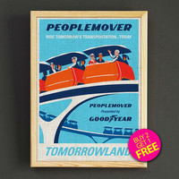 Vintage Tomorrowland Peoplemover Print Disneyland Attraction Poster Home Wall Decor Gift Linen Print - Buy 2 Get 1 FREE - 364s2g