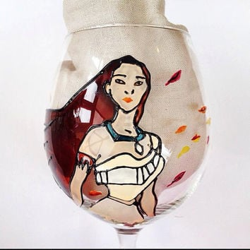 Pocahontas Disney inspired Themed Wine Glass - Handpainted