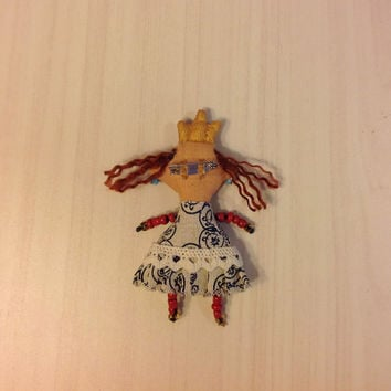 brooch princess brooch  doll whimsical textile brooch  stylish accessories fashion wearable pin doll