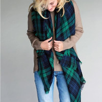 Mad For Plaid Blanket Scarf - Green