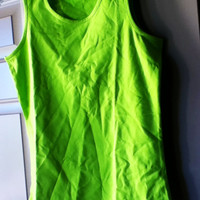 Lime Green Chartreuse Camisole Tank Size XS Vintage Round Neck Like-New Bright Colorful Women's Fashion Casual Trend Work Sporty Teens