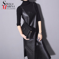 New 2016 European Women Autumn Dress Black Solid Sleeveless Spaghetti Straps Bottom Opening Leather Sexy Long Dress Style 746