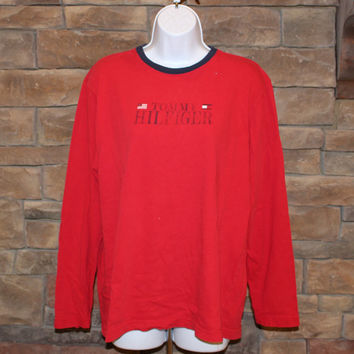 Vintage Tommy Hilfiger Long Sleeve Shirt  Crewneck Pullover  Women's XL   Made in USA   Red
