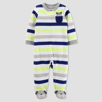 Baby Boys' Dog Pocket Striped Sleep N' Play - Just One You™ Made by Carter's® Silver