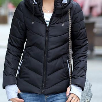 New Black Pockets Drawstring Zipper Hooded Long Sleeve Casual Coat
