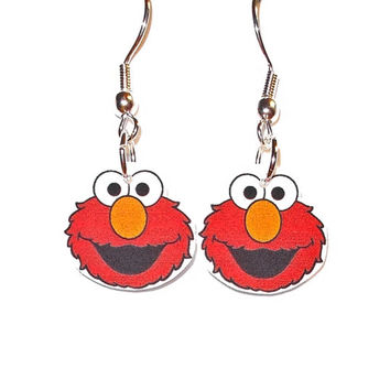 Elmo Earrings  Sesame Street Cookie Monster by ThisAndThatCharm