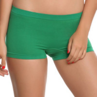 Solid Green Seamless Hot Pants