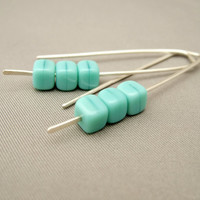 Seafoam Green Sterling Silver Cube Czech Glass Earrings. Modern Contemporary Dangle Earrings.
