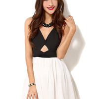 Black and White Deep V-neck Dress with Cut-out Detail