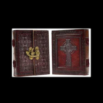 Celtic Cross Genuine Leather Blank Journal with Latch