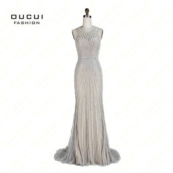 Real Photos Tulle with Lace Shinning Crystal Gary Color Party Occasion Formal Long Evening Dress OL102871
