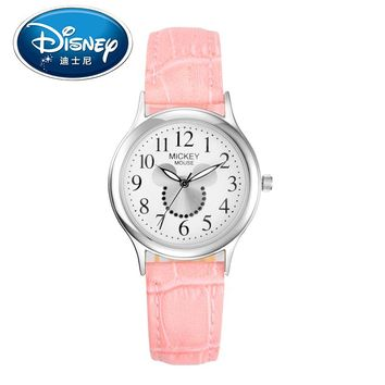 Disney Kids Watch Children Watch   Fashion Cute Wristwatches Girls Mickey Mouse Leather clock