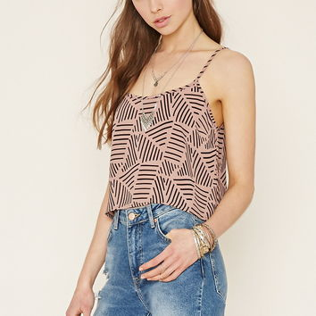 Abstract Print Cropped Cami
