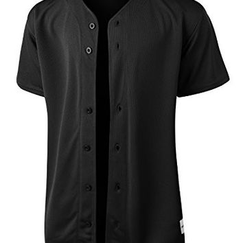OLLIN1 PREMIUM Mens Full Button Down Mesh Short Sleeve Baseball Jersey