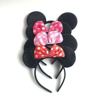 Mickey and Minnie Mouse Party Decorations Supplies Kids Birthday Pink Red Bow Minnie Mouse Ears Headband Adult