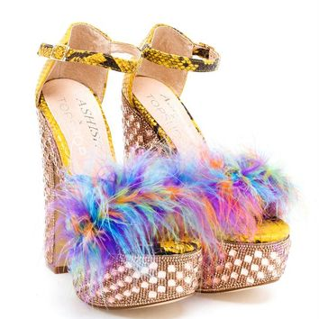 Feathered Marabou Platform Sandals - ASHISH X TOPSHOP