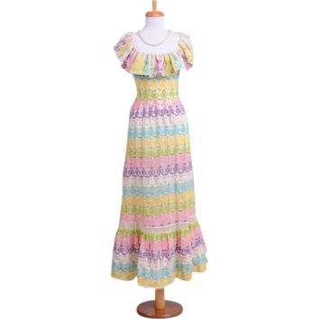 Vintage 1970s Colorful Pastel Embroidered White Peasant Evening Gown