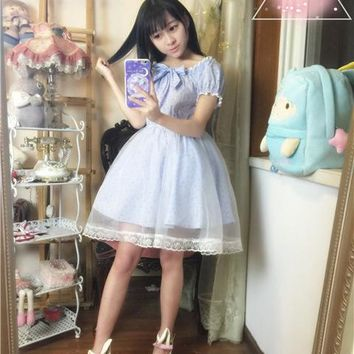 2016 Summer Japanese Descent Lolita Palace Sweet Small Fresh Strapless Slash Neck Striped A-Line Knee-Length Blue Girls Dress