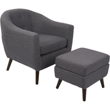 Rockwell Mid-Century Modern Chair with Ottoman, Charcoal Grey