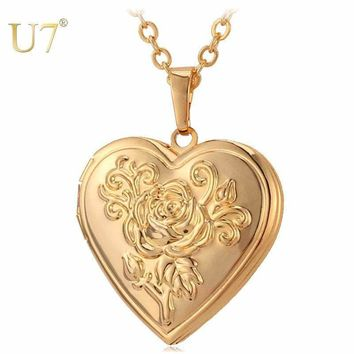 Heart Locket Necklace Pendant Metal Brass Gold Photo Frame Necklace