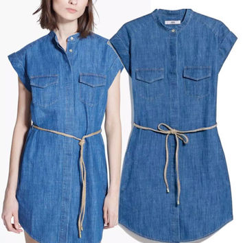 Women's Fashion Rinsed Denim Denim Dress Short Sleeve With Pocket One Piece Dress [4914987204]