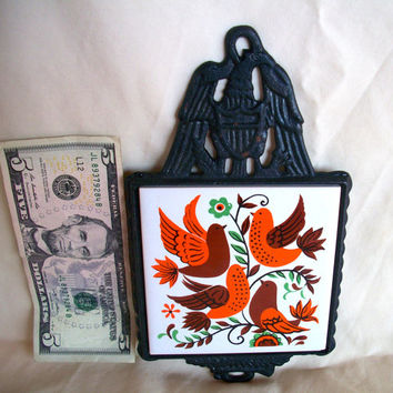Vintage Cast Iron Cathay  Tile Trivet Bird Design 1960s Wall Hanging Some Slight Rust