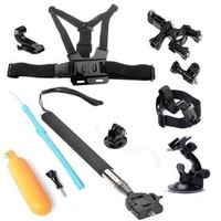 MCOCEAN 6 in 1 Accessories Bundle Kit Set for Go Pro Hero 4 Hero 3+ Hero 3 Action Camera:Telescopic Selfie Stick+Tripod+Chest&Head Strap+J-Hook+Suction Cup+Handlebar Mount+Floating Hand Grip etc