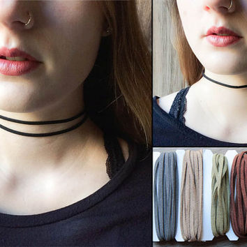 Custom faux suede choker Necklace   Single or double strand   Choose your color and style   Celeb inspired   Multi strand choker  