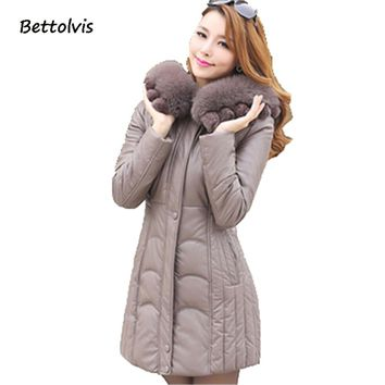 2017 New XL -6XL women leather coat winter down jacket female large fur collar hooded parka medium-long mother clothing B602