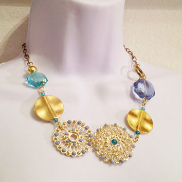 Blue and gold statement necklace // broach necklace // bold jewelry // pendant necklace