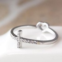1piece Cross Ring Rearside Tiny Heart / Love Ring Best Friend Ring Jewelry