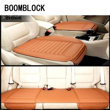 BOOMBLOCK Car Seat Covers Cushion Genuine Leather For Mercedes W204 W210 AMG Benz Bmw E36 E90 E60 Fiat 500 Volvo S80 Accessories
