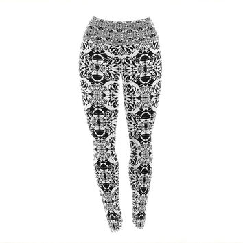 "Mydeas ""Illusion Damask Black & White"" Monochrome Yoga Leggings"