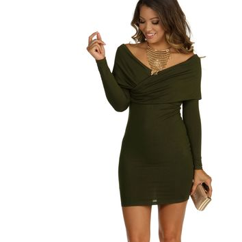 Olive Playing Games Bodycon Dress