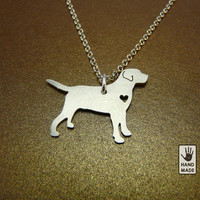 Labrador Sterling Silver pendant , sterling silver chain