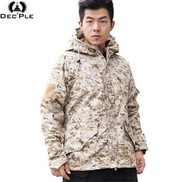 Decple Men Shark Skin Softshell Military Tactical Jacket Men Waterproof Windproof Warm Coat Camouflage Hooded Camo Army Clothing