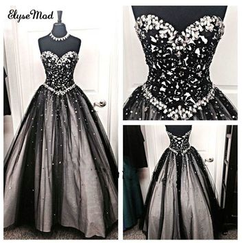 Beaded Vintage Black Crystal Ball Gown