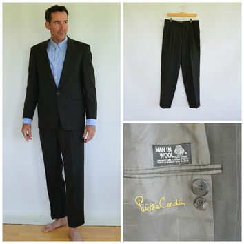 Pierre Cardin 1970's Men's Suit Union Made All Gray Wool Full Suit Jacket Chest size 42 and Pleated Cuffed Pants Vintage size 32/32 pants