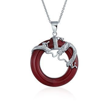 Dragon Round Circle Disc Red Jade Pendant Sterling Silver Necklace