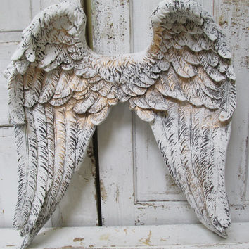 Large angel wings home decor painted white accented gold ornate detailed wall hanging sculpture decoration anita spero
