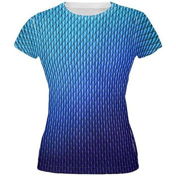 CREYCY8 Halloween Blue Ice Dragon Scales Costume All Over Juniors T Shirt