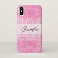 Shabby chic pink lace damask with custom name iPhone x case