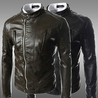 Asymmetrical Zip-Up Leather Jacket