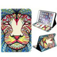 New Design Pattern Flip Stand with Card Slots TPU+PU Leather Case for iPad Mini/ iPad Mini 2/3 Retina (Colorized Painting Lion Head)