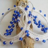 Whirl of beads white cotton and cobalt blue beads earrings
