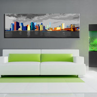 Abstract new york city painting style  art canvas work, Canvas oil printing.Large size 24x64