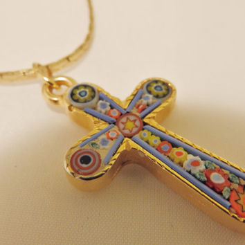 Micro Mosaic Gold Tone Cross Pendant Necklace