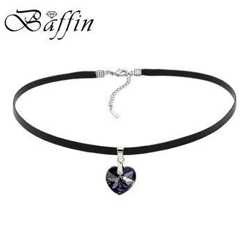 BAFFIN XILION Heart Pendant Choker Necklace Crystals From Austria Elements Rope Chain Collier For Women 2017 Vintage Jewelry