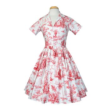 Drive-in Dress In Red Toile Print
